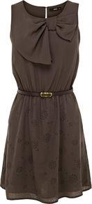 Women's Cutwork Tunic Dress, Khaki - length: mid thigh; neckline: round neck; fit: fitted at waist; pattern: plain; sleeve style: sleeveless; style: blouson; bust detail: added detail/embellishment at bust; waist detail: belted waist/tie at waist/drawstring; predominant colour: khaki; occasions: casual, evening; fibres: cotton - 100%; hip detail: soft pleats at hip/draping at hip/flared at hip; back detail: keyhole/peephole detail at back; sleeve length: sleeveless; texture group: sheer fabrics/chiffon/organza etc.; pattern type: fabric; pattern size: standard