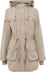 Women's Dip Hem Parka Jacket Longer Length, Stone - pattern: plain; fit: loose; style: parka; back detail: hood; hip detail: front pockets at hip; collar: high neck; length: mid thigh; predominant colour: stone; occasions: casual; fibres: cotton - 100%; waist detail: belted waist/tie at waist/drawstring; sleeve length: long sleeve; sleeve style: standard; collar break: high; pattern type: fabric; texture group: other - light to midweight