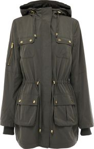 Women's Dip Hem Parka Jacket Longer Length, Khaki - pattern: plain; fit: loose; style: parka; back detail: hood; hip detail: front pockets at hip; collar: high neck; length: mid thigh; predominant colour: khaki; occasions: casual; fibres: cotton - 100%; waist detail: belted waist/tie at waist/drawstring; sleeve length: long sleeve; sleeve style: standard; collar break: high; pattern type: fabric; texture group: other - light to midweight