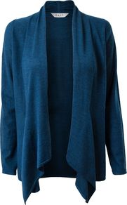 Women&#x27;s Edge To Edge Swathe Cardigan, Teal - pattern: plain; length: below the bottom; neckline: collarless open; style: open front; predominant colour: teal; occasions: casual, work; fibres: wool - 100%; fit: loose; hip detail: dip hem; sleeve length: long sleeve; sleeve style: standard; texture group: knits/crochet; pattern type: knitted - fine stitch