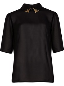 Women&#x27;s Porta Embellished Collar Shirt, Black - neckline: shirt collar/peter pan/zip with opening; pattern: plain; style: shirt; predominant colour: black; occasions: evening, work; length: standard; fibres: polyester/polyamide - 100%; fit: body skimming; back detail: keyhole/peephole detail at back; sleeve length: half sleeve; sleeve style: standard; texture group: sheer fabrics/chiffon/organza etc.; pattern type: fabric; embellishment: chain/metal