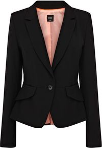 Women's Celeste Jacket, Black - pattern: plain; style: single breasted blazer; collar: standard lapel/rever collar; predominant colour: black; occasions: casual, evening, work, occasion; length: standard; fit: tailored/fitted; fibres: polyester/polyamide - 100%; waist detail: fitted waist; sleeve length: long sleeve; sleeve style: standard; collar break: medium; pattern type: fabric; texture group: woven light midweight