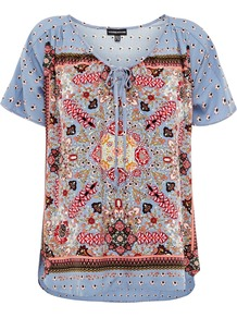 Women's Exotic Print Tunic, Multi Coloured - bust detail: added detail/embellishment at bust; style: tunic; secondary colour: true red; occasions: casual, holiday; length: standard; neckline: scoop; fibres: viscose/rayon - 100%; fit: loose; predominant colour: multicoloured; sleeve length: short sleeve; sleeve style: standard; trends: statement prints; pattern type: fabric; pattern size: small & busy; pattern: patterned/print; texture group: jersey - stretchy/drapey