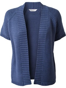 Women's Ribbed Cardigan, Chambray - pattern: plain; neckline: collarless open; style: open front; predominant colour: denim; occasions: casual, work; length: standard; fibres: cotton - 100%; fit: loose; sleeve length: short sleeve; sleeve style: standard; texture group: knits/crochet; pattern type: knitted - other
