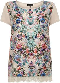 Women's Floral Print Lace Hem Tee, Multi Coloured - neckline: round neck; style: t-shirt; back detail: contrast pattern/fabric at back; secondary colour: royal blue; occasions: casual, holiday; length: standard; fibres: polyester/polyamide - 100%; fit: body skimming; predominant colour: multicoloured; sleeve length: short sleeve; sleeve style: standard; pattern type: fabric; pattern size: big & busy; pattern: florals; texture group: jersey - stretchy/drapey; embellishment: lace