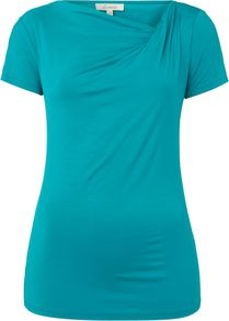 Women's S/S Twist Cowl Top, Jade - neckline: cowl/draped neck; pattern: plain; predominant colour: turquoise; occasions: casual, work, holiday; length: standard; style: top; fibres: viscose/rayon - stretch; fit: body skimming; sleeve length: short sleeve; sleeve style: standard; texture group: jersey - clingy; pattern type: fabric