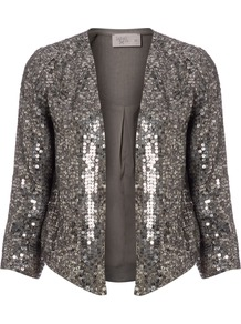 Women's Grey Sequin Throw On, Grey - pattern: plain; style: single breasted blazer; collar: standard lapel/rever collar; predominant colour: charcoal; occasions: evening, occasion; length: standard; fit: straight cut (boxy); fibres: polyester/polyamide - 100%; sleeve length: 3/4 length; sleeve style: standard; trends: metallics; collar break: low/open; pattern type: fabric; texture group: other - light to midweight; embellishment: sequins