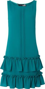 Women's Sleeveless Crew Neck Ruffle Peplum Dress, Teal - style: shift; neckline: round neck; pattern: plain; sleeve style: sleeveless; waist detail: drop waist; predominant colour: teal; occasions: evening, occasion; length: just above the knee; fit: soft a-line; fibres: polyester/polyamide - stretch; sleeve length: sleeveless; texture group: crepes; hip detail: ruffles/tiers/tie detail at hip; pattern type: fabric