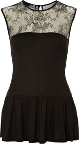Women&#x27;s Sleeveless Crew Neck Peplum Top With Lace Yoke, Black - pattern: plain; sleeve style: sleeveless; waist detail: twist front waist detail/nipped in at waist on one side/soft pleats/draping/ruching/gathering waist detail; predominant colour: black; occasions: evening, occasion; length: standard; style: top; fit: body skimming; neckline: crew; back detail: keyhole/peephole detail at back; sleeve length: sleeveless; pattern type: fabric; texture group: jersey - stretchy/drapey; fibres: viscose/rayon - mix; embellishment: lace