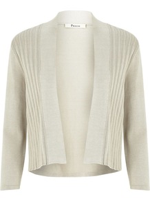 Women's Oyster Pleat Trim Shrug, Oyster - pattern: plain; length: cropped; neckline: collarless open; style: open front; predominant colour: ivory; occasions: casual; fit: standard fit; sleeve length: 3/4 length; sleeve style: standard; texture group: knits/crochet; pattern type: knitted - other; fibres: viscose/rayon - mix