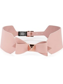 Skelsey Waist Bow Belt, Nude - predominant colour: nude; occasions: casual, evening, holiday; type of pattern: standard; style: obi; size: wide; worn on: waist; material: leather; pattern: plain; finish: plain; embellishment: bow