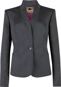 Women's Talle Tonic Suit Blazer, Grey - pattern: plain; style: single breasted blazer; collar: standard lapel/rever collar; predominant colour: black; occasions: casual, evening, work, occasion; length: standard; fit: tailored/fitted; fibres: viscose/rayon - stretch; sleeve length: long sleeve; sleeve style: standard; collar break: medium; pattern type: fabric; texture group: other - light to midweight
