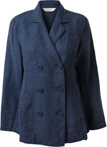 Women's Denim Linen Db Jacket, Indigo - pattern: plain; style: double breasted blazer; length: below the bottom; collar: standard lapel/rever collar; predominant colour: navy; occasions: casual; fit: tailored/fitted; fibres: linen - 100%; sleeve length: long sleeve; sleeve style: standard; texture group: linen; collar break: medium; pattern type: fabric