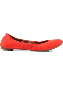 Emmie Ballerina Shoes, Orange - predominant colour: bright orange; occasions: casual, evening, work; material: leather; heel height: flat; toe: round toe; style: ballerinas / pumps; finish: plain; pattern: plain