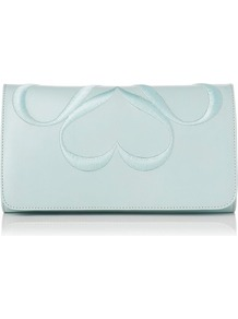 Freya Leather Clutch Blue Sky - predominant colour: pale blue; occasions: evening, occasion; type of pattern: light; style: clutch; length: hand carry; size: small; material: leather; embellishment: embroidered; pattern: plain, patterned/print; finish: plain