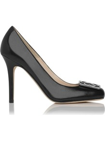 Lovells Tudor Rose Detail Court Shoe Black - predominant colour: black; occasions: evening, work, occasion; material: leather; heel height: high; embellishment: buckles, chain/metal; heel: stiletto; toe: round toe; style: courts; finish: patent; pattern: plain