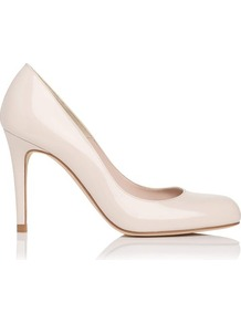 Shilo Patent Leather Court Shoe White Off White - predominant colour: ivory; occasions: evening, work, occasion; material: leather; heel height: high; heel: stiletto; toe: round toe; style: courts; finish: patent; pattern: plain