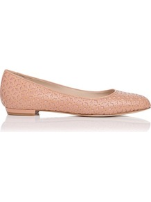 Florrie Leather Laser Cut Out Flat Pink Blush - predominant colour: blush; occasions: casual, work; material: leather; heel height: flat; toe: round toe; style: ballerinas / pumps; finish: plain; pattern: patterned/print