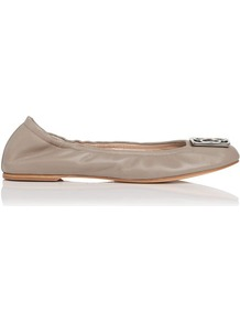 Roset Leather Ballerina Flat Grey Clay - predominant colour: stone; occasions: casual, work; material: leather; heel height: flat; embellishment: buckles, elasticated, chain/metal; toe: round toe; style: ballerinas / pumps; finish: plain; pattern: plain