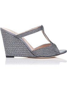 Tahiti Metallic Rope Lurex Wedge Silver Pewter - predominant colour: charcoal; occasions: casual, evening, occasion, holiday; material: fabric; heel height: high; embellishment: glitter; heel: wedge; toe: open toe/peeptoe; style: slides; trends: metallics; finish: metallic; pattern: plain