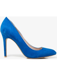 Faux Suede Pumps - predominant colour: royal blue; occasions: evening, work, occasion; material: faux leather; heel height: high; heel: stiletto; toe: pointed toe; style: courts; finish: plain; pattern: plain
