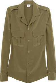The Military Silk Shirt - neckline: shirt collar/peter pan/zip with opening; pattern: plain; shoulder detail: obvious epaulette; style: shirt; bust detail: pocket detail at bust, buttons at bust (in middle at breastbone)/zip detail at bust; predominant colour: khaki; occasions: casual, evening, work; length: standard; fibres: silk - 100%; fit: body skimming; sleeve length: long sleeve; sleeve style: standard; texture group: silky - light; pattern type: fabric