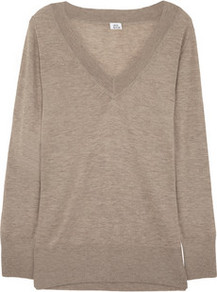 Cashmere Sweater - neckline: v-neck; style: standard; predominant colour: taupe; occasions: casual, work; length: standard; fit: standard fit; fibres: cashmere - 100%; sleeve length: long sleeve; sleeve style: standard; texture group: knits/crochet; pattern type: knitted - fine stitch