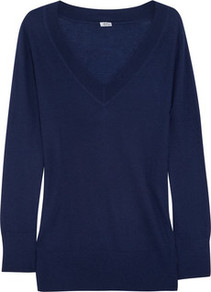 Cashmere Sweater - neckline: low v-neck; style: standard; hip detail: fitted at hip, contrast fabric/print detail at hip; predominant colour: navy; occasions: casual, work; length: standard; fit: standard fit; fibres: cashmere - 100%; sleeve length: long sleeve; sleeve style: standard; texture group: knits/crochet; pattern type: knitted - fine stitch; pattern size: standard