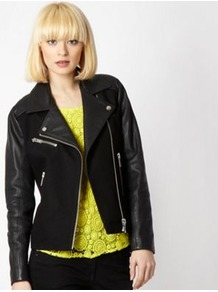 Black Leather Panelled Biker Jacket - pattern: plain; style: biker; collar: asymmetric biker; predominant colour: black; occasions: casual; length: standard; fit: straight cut (boxy); fibres: cotton - mix; sleeve length: long sleeve; sleeve style: standard; collar break: medium; pattern type: fabric; texture group: other - bulky/heavy