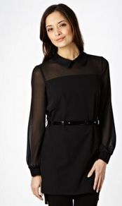 Black Lace Collared Tunic Top - pattern: plain; length: below the bottom; sleeve style: balloon; shoulder detail: contrast pattern/fabric at shoulder; waist detail: belted waist/tie at waist/drawstring; predominant colour: black; occasions: evening, work; style: top; fibres: polyester/polyamide - 100%; fit: straight cut; neckline: no opening/shirt collar/peter pan; sleeve length: long sleeve; texture group: sheer fabrics/chiffon/organza etc.; pattern type: fabric; embellishment: lace