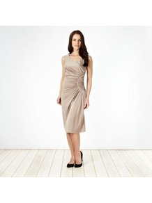 Taupe Ruched Waist Jersey Dress - style: shift; length: below the knee; neckline: round neck; pattern: plain; sleeve style: sleeveless; waist detail: twist front waist detail/nipped in at waist on one side/soft pleats/draping/ruching/gathering waist detail; bust detail: ruching/gathering/draping/layers/pintuck pleats at bust; predominant colour: taupe; occasions: evening, occasion; fit: body skimming; fibres: polyester/polyamide - stretch; sleeve length: sleeveless; pattern type: fabric; texture group: jersey - stretchy/drapey