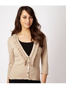 Natural Chain Ruffle Cardigan - neckline: low v-neck; pattern: plain; predominant colour: stone; occasions: casual, work; length: standard; style: standard; fibres: cotton - stretch; fit: slim fit; sleeve length: 3/4 length; sleeve style: standard; texture group: knits/crochet; bust detail: tiers/frills/bulky drapes/pleats; pattern type: knitted - fine stitch