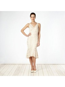 Light Gold Lace Overlay Flared Hem Dress - length: calf length; neckline: low v-neck; pattern: plain; sleeve style: sleeveless; predominant colour: white; occasions: evening, occasion; fit: body skimming; style: fishtail; sleeve length: sleeveless; texture group: lace; pattern type: fabric; fibres: nylon - stretch; embellishment: lace