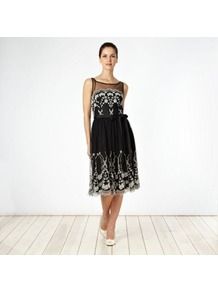 Black Embroidered Mesh Prom Dress - neckline: round neck; sleeve style: sleeveless; style: prom dress; bust detail: sheer at bust; waist detail: belted waist/tie at waist/drawstring; secondary colour: white; predominant colour: black; occasions: evening, occasion; length: on the knee; fit: fitted at waist & bust; fibres: polyester/polyamide - 100%; hip detail: soft pleats at hip/draping at hip/flared at hip; back detail: sheer fabric at back; sleeve length: sleeveless; pattern type: fabric; pattern: patterned/print; texture group: net/tulle; embellishment: embroidered