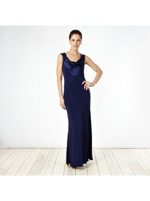 Designer Navy Satin Trimmed Cowl Neck Maxi Dress - style: ballgown; neckline: cowl/draped neck; pattern: plain; sleeve style: sleeveless; length: ankle length; back detail: low cut/open back; predominant colour: navy; occasions: evening, occasion; fit: body skimming; fibres: polyester/polyamide - mix; hip detail: soft pleats at hip/draping at hip/flared at hip; bust detail: contrast pattern/fabric/detail at bust; sleeve length: sleeveless; texture group: silky - light; pattern type: fabric