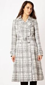 Ivory Grid Jacquard Coat - pattern: checked/gingham; length: below the bottom; style: trench coat; collar: standard lapel/rever collar; predominant colour: white; secondary colour: mid grey; occasions: evening, work; fit: tailored/fitted; fibres: polyester/polyamide - mix; waist detail: belted waist/tie at waist/drawstring; sleeve length: long sleeve; sleeve style: standard; collar break: medium; pattern type: fabric; pattern size: big &amp; busy; texture group: woven light midweight