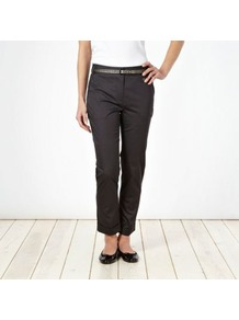 Dark Grey Sateen Belted Chinos - pattern: plain; pocket detail: small back pockets, pockets at the sides; waist detail: belted waist/tie at waist/drawstring; waist: mid/regular rise; predominant colour: charcoal; occasions: casual, evening, work; length: ankle length; style: chino; fibres: cotton - stretch; hip detail: fitted at hip (bottoms); texture group: cotton feel fabrics; fit: skinny/tight leg; pattern type: fabric