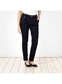 Navy Zip Cuff Belted Chinos - length: standard; pattern: plain; pocket detail: large back pockets, pockets at the sides; waist detail: belted waist/tie at waist/drawstring; waist: mid/regular rise; predominant colour: navy; occasions: casual, evening, work, holiday; style: chino; fibres: cotton - stretch; hip detail: added detail/embellishment at hip; texture group: cotton feel fabrics; fit: straight leg; pattern type: fabric