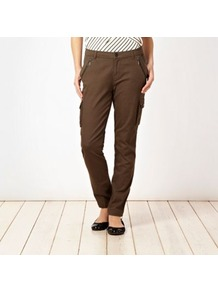 Khaki Cargo Trousers - length: standard; pattern: plain; waist detail: fitted waist; pocket detail: large back pockets, pockets at the sides; waist: low rise; style: cargo; predominant colour: khaki; occasions: casual, holiday; fibres: cotton - mix; hip detail: added detail/embellishment at hip; texture group: cotton feel fabrics; fit: slim leg; pattern type: fabric