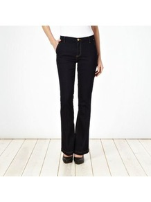 Dark Blue Kick Flare Jeans - style: flares; length: standard; pattern: plain; pocket detail: traditional 5 pocket; waist: mid/regular rise; predominant colour: navy; occasions: casual, evening; fibres: cotton - stretch; jeans detail: dark wash; texture group: denim; pattern type: fabric