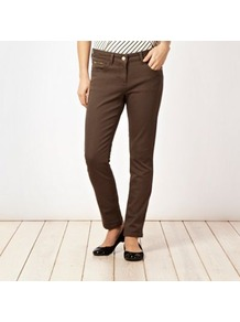 Khaki Skinny Jeans - style: skinny leg; length: standard; pattern: plain; pocket detail: traditional 5 pocket; waist: mid/regular rise; predominant colour: khaki; occasions: casual; fibres: cotton - stretch; texture group: denim; pattern type: fabric