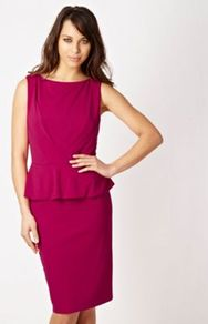 Designer Pink Jersey Peplum Dress - style: shift; neckline: slash/boat neckline; fit: tailored/fitted; pattern: plain; sleeve style: sleeveless; waist detail: peplum waist detail; predominant colour: hot pink; occasions: evening, work, occasion; length: on the knee; fibres: polyester/polyamide - 100%; sleeve length: sleeveless; texture group: crepes; trends: glamorous day shifts; pattern type: fabric