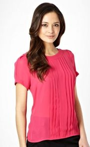 Dark Pink Box Pleated Shell Top - neckline: round neck; pattern: plain; bust detail: ruching/gathering/draping/layers/pintuck pleats at bust; predominant colour: hot pink; occasions: evening, work; length: standard; style: top; fibres: polyester/polyamide - 100%; fit: straight cut; shoulder detail: flat/draping pleats/ruching/gathering at shoulder; sleeve length: short sleeve; sleeve style: standard; texture group: sheer fabrics/chiffon/organza etc.; pattern type: fabric