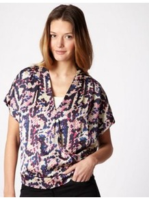 Pink Snake Printed Kimono Wrapped Top - neckline: low v-neck; style: wrap/faux wrap; secondary colour: royal blue; occasions: evening, work, holiday; length: standard; fibres: polyester/polyamide - 100%; fit: body skimming; predominant colour: multicoloured; sleeve length: short sleeve; sleeve style: standard; texture group: sheer fabrics/chiffon/organza etc.; pattern type: fabric; pattern size: big &amp; busy; pattern: animal print