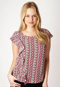 Dark Pink Ruffled Cube Patterned Top - neckline: round neck; sleeve style: capped; waist detail: twist front waist detail/nipped in at waist on one side/soft pleats/draping/ruching/gathering waist detail; secondary colour: white; occasions: casual, evening, work, holiday; length: standard; style: top; fibres: polyester/polyamide - 100%; fit: straight cut; back detail: embellishment at back; sleeve length: short sleeve; trends: sculptural frills, modern geometrics; bust detail: tiers/frills/bulky drapes/pleats; pattern type: fabric; pattern size: small &amp; busy; pattern: patterned/print; texture group: jersey - stretchy/drapey; predominant colour: dusky pink