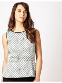 Aqua Spotted Peplum Top - neckline: round neck; sleeve style: sleeveless; pattern: polka dot; waist detail: peplum waist detail; bust detail: ruching/gathering/draping/layers/pintuck pleats at bust; predominant colour: pistachio; secondary colour: black; occasions: evening, work; length: standard; style: top; fibres: polyester/polyamide - 100%; fit: tailored/fitted; sleeve length: sleeveless; pattern type: fabric; pattern size: small & busy; texture group: other - light to midweight