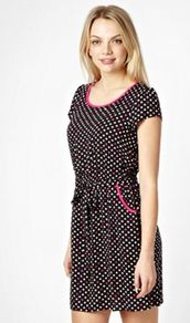 Designer Black Polka Dot Tea Dress - style: shift; length: mid thigh; neckline: round neck; sleeve style: capped; fit: fitted at waist; waist detail: elasticated waist, fitted waist, belted waist/tie at waist/drawstring; hip detail: front pockets at hip; pattern: polka dot; predominant colour: black; occasions: casual, holiday; fibres: polyester/polyamide - 100%; sleeve length: short sleeve; pattern type: fabric; pattern size: small & busy; texture group: jersey - stretchy/drapey