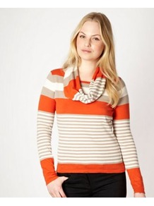 Dark Orange Striped Snood Jumper - neckline: cowl/draped neck; pattern: horizontal stripes; style: standard; predominant colour: bright orange; occasions: casual, work; length: standard; fibres: cotton - 100%; fit: standard fit; sleeve length: long sleeve; sleeve style: standard; texture group: knits/crochet; pattern type: fabric; pattern size: standard