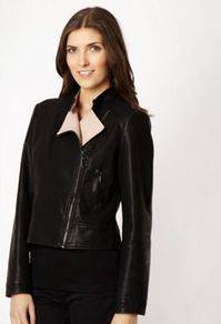Black Faux Leather Contrasting Collar Leather Jacket - pattern: plain; style: biker; collar: asymmetric biker; fit: slim fit; predominant colour: black; occasions: casual, evening, work; length: standard; fibres: polyester/polyamide - 100%; sleeve length: long sleeve; sleeve style: standard; texture group: leather; collar break: high/illusion of break when open; pattern type: fabric; pattern size: standard