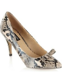 Beige Faux Snakeskin Court Shoes - predominant colour: ivory; secondary colour: charcoal; occasions: evening, work, occasion; material: faux leather; heel height: high; heel: stiletto; toe: pointed toe; style: courts; finish: plain; pattern: animal print; embellishment: bow